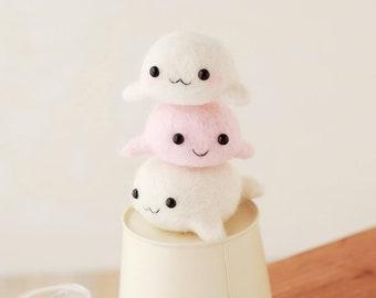 Hamanaka Needle Felting Kit Three Little Seal H441-478 - Wool Felt Kit