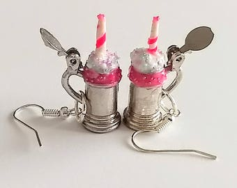 Unicorn Milkshake Earrings - Miniature Food Jewelry, Inedible Jewelry, Fake Food Ring - Milkshake Earrings, Unicorn Jewelry, Kid's Jewelry