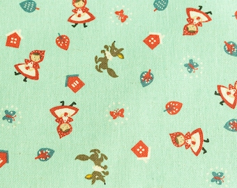 Red Riding Hood blue / green linen and cotton - 50 cm