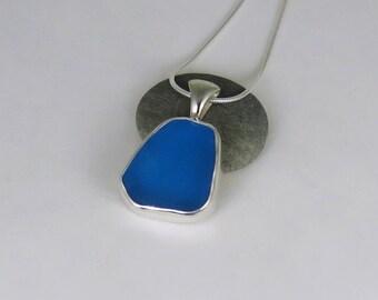 Turquoise Sea Glass Bezel Pendant Necklace Maine