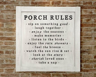 Lg, Porch Rules Sign, Porch Decor, Porch Wall Sign, Porch Rules, Farmhouse Porch Sign, Farmhouse Porch Wall Decor, Porch Decor, Fixer Upper
