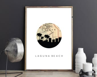 Laguna Beach sign | Laguna Beach, California art | California map | California art | Laguna Beach art | Laguna Beach decor | Orange County