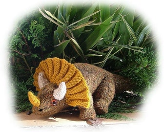 TONY TRIPLEHORN the Triceratops dinosaur toy knitting pattern by Georgina Manvell
