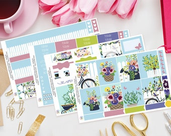 Floral Garden Planner Sticker Kit for Erin Condren | Weekly Kit, Vertical Planner, Weekly Layout, Bike, Flowers, Spring, Summer, Gardening