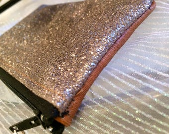 Wallet leather and faux glittery Bronze Kit makes mains/femme/accesoire/unique/personnalisation/etsy.com/your/shops/Feemains24