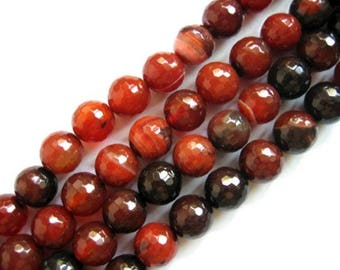 Brownish Red Black Dream Agate Round  Faceted Beads 12mm, 15 Inch Strand
