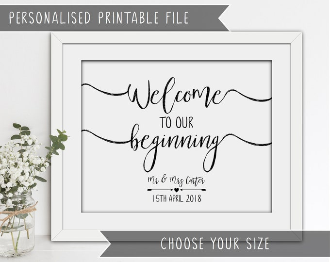 Printable Wedding Welcome Sign - Welcome to our beginning - Personalised with names and date