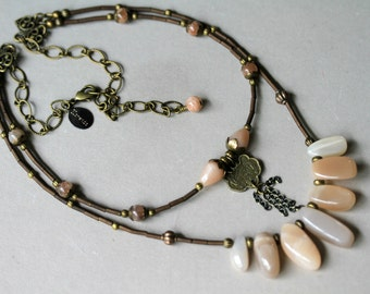 Peach Sunstone Antiqued Brass Dangling Chain Two Strand Boho Style Necklace