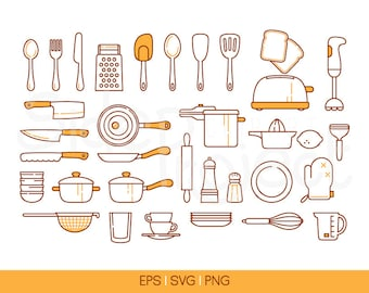 34  colored line kitchen tools icons