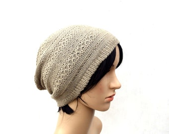 Knitted cotton beanie, knit cotton hat, knitting head gear, autumn cap, summer hat, slouchy hat, knit wear, knit tam, baggy hat