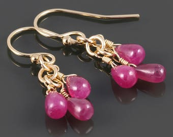 Ruby Cluster Earrings. Three Stones. Gold Filled Ear Wires. Genuine Gemstone. July Birthstone. s17e028