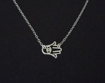 SIdeways Hamsa and Evil Eye Necklace
