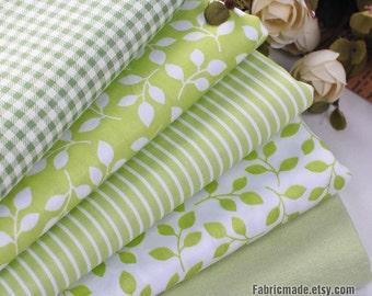 Spring Green Cotton Fabric, Light Green Plaid Stripe Leaf Solid Fabric - 1/2 yard