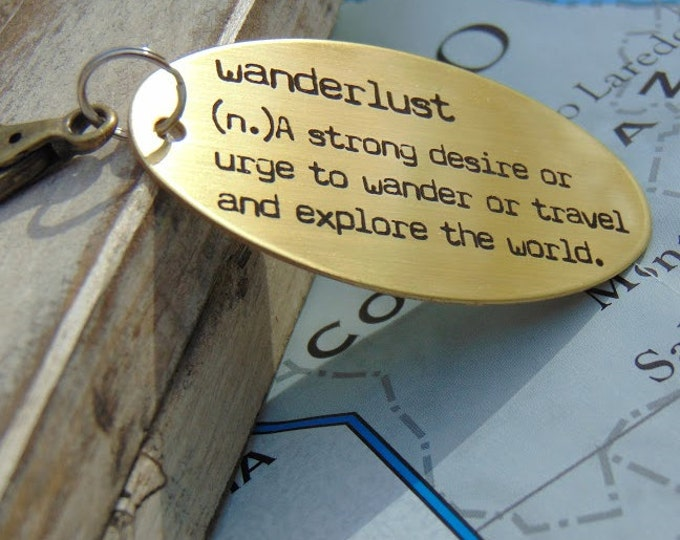 "Engraved ""wanderlust"" travel key chain, Customizable back side, custom keychains, personalized key chain, keychain for him, keychain for her"