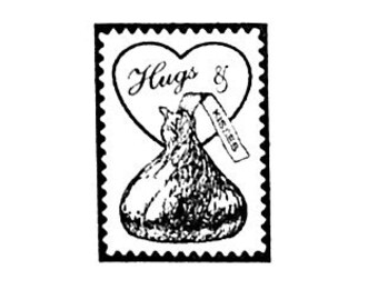 Small Hugs and Chocolate Kisses Faux Postage Stamp Mini Rubber Stamp