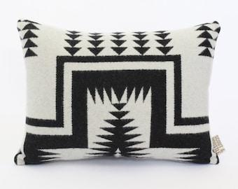 Geometric Wool Pillow // Mesa White with Black / P11-01
