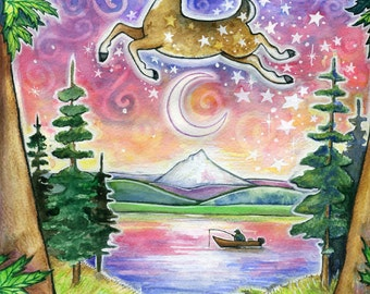 Detroit Lake 2011  - 8x10 Colorful Whimsical Deer Camping Print