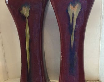 Incredible Pair of Large Flambé Drip Glaze Vases / Square Tapered Body