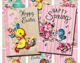 Instant Download, Printable Easter Spring Cards, Digital Download, Collage Sheet, Set of 9 designs.