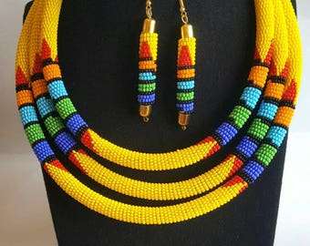 African necklace, Zulu necklace, Maasai Beaded Necklace with matching earrings,Yellow bead necklace