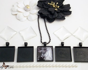 20 Black Pendant Kits- 20 Black 1 inch blank pendant trays, 20 black necklaces, 20 crystal clear glass cabochons.
