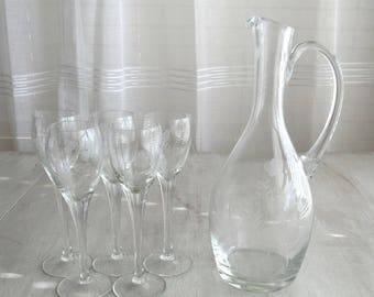 Cordial Glasses, Cordial, Etched Stemware, Glass Cordial Decanter, Dinner Party, Stemware, Etched Glass, Etched Glasses, Etched Glassware