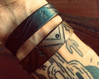 Cactus Leather Bracelet, Southwest Jewelry, Native American Bracelet, Boho Jewelry, Western Jewelry, Western Bracelet, Southwestern Jewelry