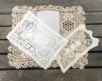 Set of 3 Vintage Doilies, Rectangular Crocheted Doilies, Cream, Almond and Tan Filet Lace Doilies, circa 1950-1960s