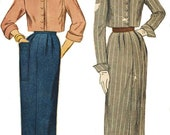 1940s Womens Bolero Suit Cropped Jacket and Skirt Simplicity Sewing Pattern 3087 Size 12 Bust 30 Vintage Sewing Pattern