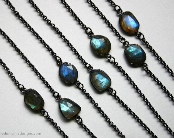 Petite Blue Labradorite Gunmetal Necklace // Minimal Labradorite Layering Necklace