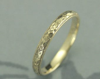 Gold Wedding Band~10K Gold Ring~Orange Blossom Ring~Renaissance Band~Antique Wedding Band~Vintage Wedding Ring~Hand Cast Band~Floral Ring
