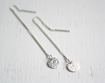 Silver sterling discs and ear threader / threader earrings / Hammered discs
