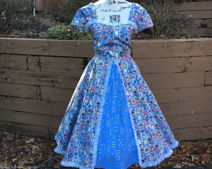 Sweetheart Circle Skirt Dress Made with Disney Alice in Wonderland Fabric