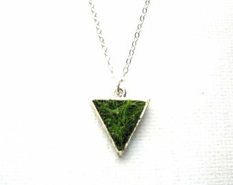 SALE Lush Green Spring Grass Silver Triangle Pendant Necklace