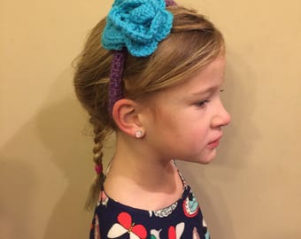 Girl's crochet headband with flower- custom colors available
