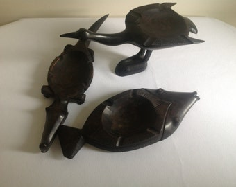 Three Hand Carved African Iron Wood Ash Trays
