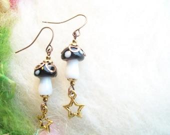 Mushroom Earrings Fairy Black Magic Mushroom Enchanting Woodland Toadstool Beaded Earrings Handmade Beaded Earrings Tiny Golden Star Charm