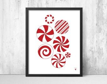 Abstract Christmas Candy Giclée Art Print | Red Christmas Decor | Red & White Candy Stripes | Candy Cane | Winter Wonderland | Candy Mint