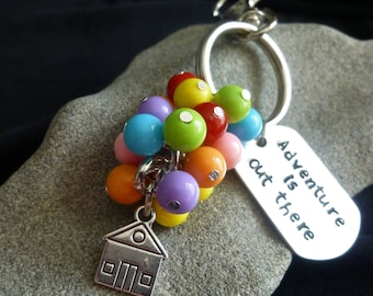 """Adventure is out there/ Hand Stamped/ """"UP"""" inspired keychain/ backpack charm/purse charm"""