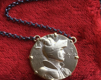 Saint Joan of Arc Necklace Catholic Courage Protection 18K Gold Plated Silver Jewelry Religious Gift First Holy Communion Christian