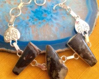 "Boho Picasso Jasper Sterling Silver Bracelet - 7 1/2"" - 8 1/2"" - STERLING SILVER - JASPER - Boho chic Bracelet  - Natural Stone Bracelet"