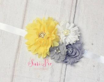 Yellow Flower Girl Sash, Yellow and Gray Sash, Bridesmaid Sash, Maternity Sash, Flower Girl Belt, Bridal Belt, Bridesmaid Belt