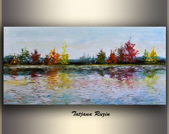 Landscape Oil Painting, Landscape Art Painting, ORIGINAL Art, Canvas Art, Palette Knife, Textured Painting,Colorful Modern Art,Made to order