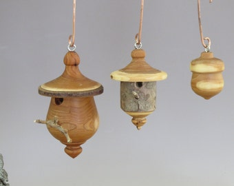 Turned Wood Birdhouse Ornaments , Acorn Ornament, Handmade Birdhouse Ornaments , Unique Wooden Ornaments, Christmas Ornament, Gift Exchange