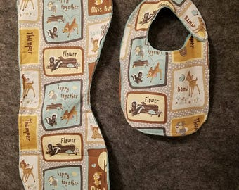 Bambi burp cloth and bib set.  Features Bambi, flower, and thumper.  minky backed