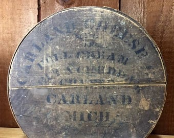 Antique Wooden Carland Cheese Box