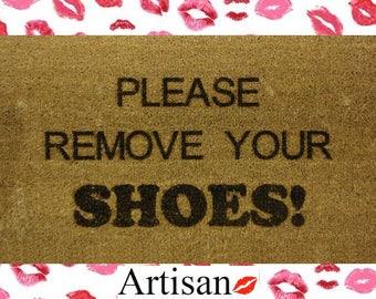 Please Remove Your Shoes 70 x 40cm Internal Coir Door Mat, Laser Engraved Artisan Kiss