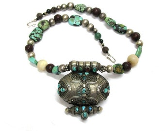 Antique Tibetan Gau, Buddhist Silver (80%)  Ghau, Prayer Box Necklace, Tibetan Heirloom Turquoise, Translucent Giant Clam,Bodhi Seed,84Grams