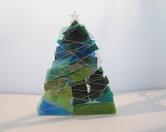 Blue, Turquoise and Sea Green Christmas Tree Votive