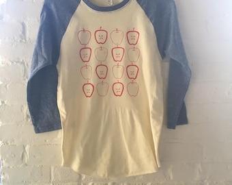 Apple Shirt, Raglan Shirt, Gardening Gift, Screen Printed T Shirt, Clothing Gift, Foodie Gift